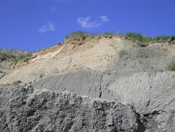 Blaugrüner Eozänton unter Geschiebemergel (Foto: A. Börner, 2010)