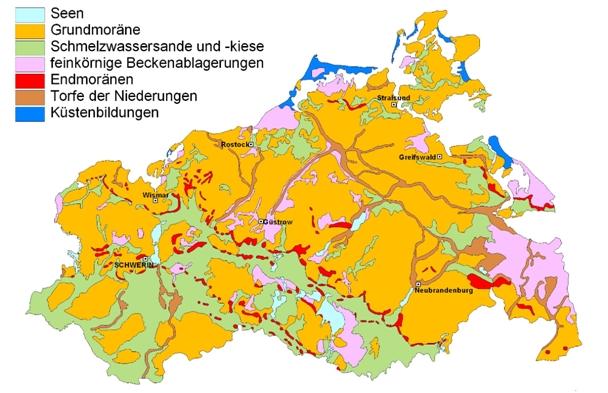 >Geologische Karte der an der Oberfläche anstehenden Bildungen in M-V (nach Müller & Schütze 2003).