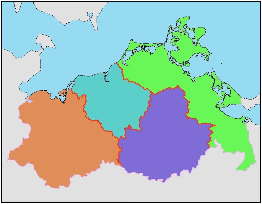 Karte Planungsregionen M-V
